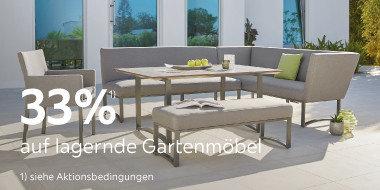 33% auf lagernde Gartenmöbel