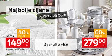 Poplun i jastuk za spavanje i kombinirani servis za jelo bijele boje Lesnina XXXL