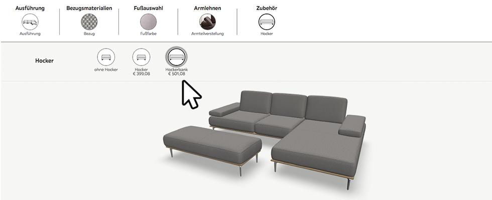 Zubehör des Sofas zufügen