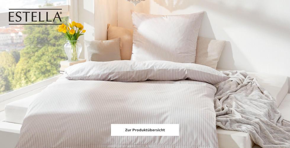 Estella Bettwäschen Beige Weiß gestreift Frühling
