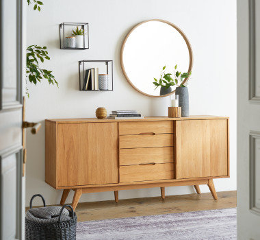 Wandspiegel Holz Silber Rund