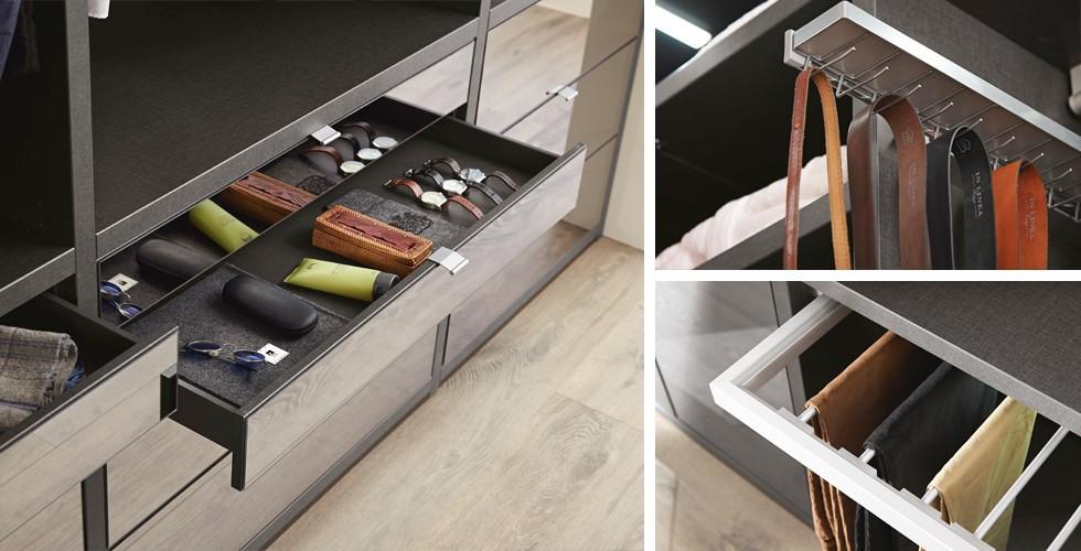 Zásuvky, háčky na kravaty, tyče na kalhoty, regály – vybavte si skříň v XXXLutz.
