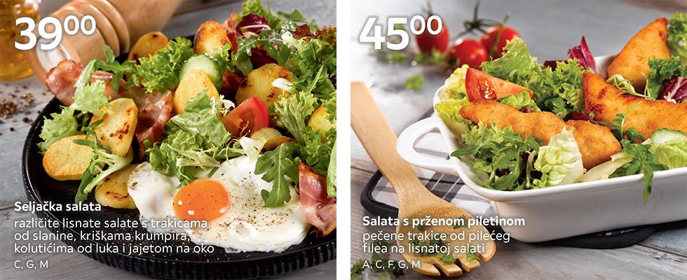 Seljačka salata i salata s prženom piletinom