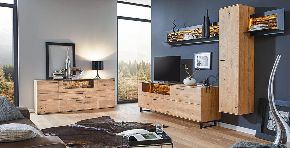 Wohnzimmer-Wohnwand aus Holz