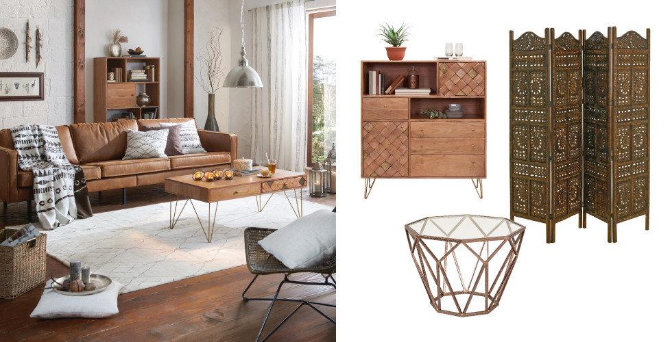 Ethno Wohnzimmer Schrank Tisch Raumteiler