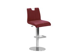 Výškově nastavitelná barová stolička s opěrkou a fialovým potahem koženého vzhledu.