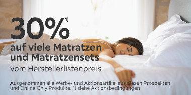30% auf viele Matratzen  und Matratzensets  vom Herstellerlistenpreis