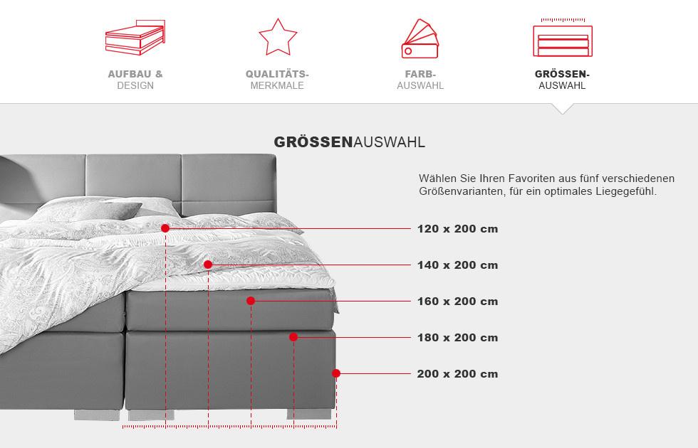 Boxspringbett Prinz Modern - Groessenauswahl Details