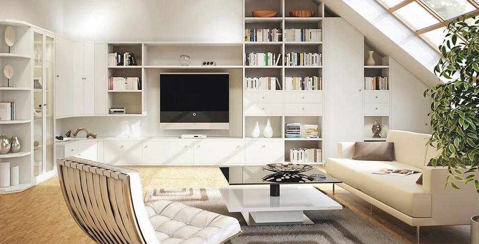 Obývací pokoj Hülsta se spoustou úložného prostoru v XXXLutz.