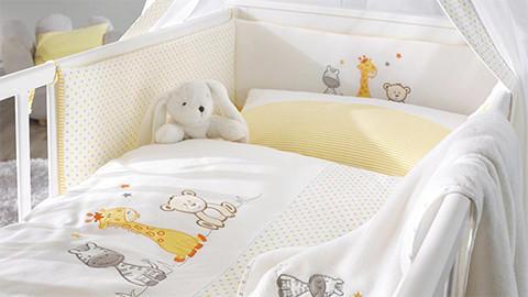 Nestchen Babybett weiß gelb mit Tiermotiven