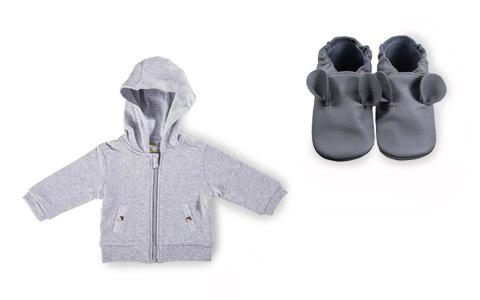 Babyjackein grau und Babyschuhe in grau von PATINIO