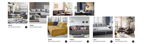 Auswahl konfigurierbarer Sofas