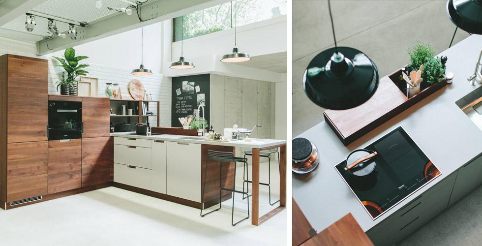 Küche aus Holz in weiss-braunen Tönen