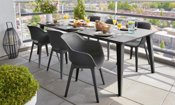 Online Only Garten Gartenmöbel Terrassenmöbel Schwarz Tisch Stühle Balkon