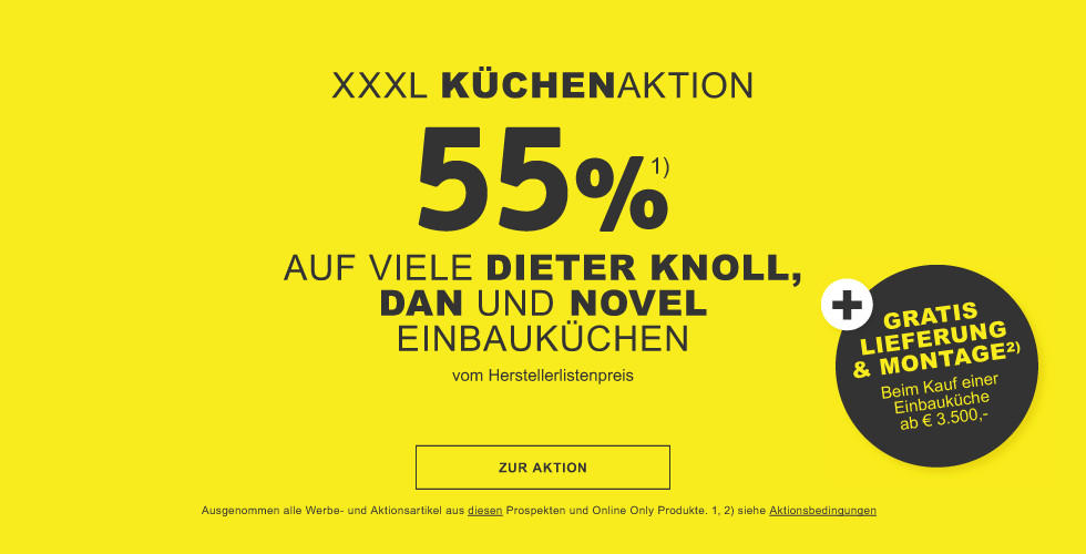 55% auf viele Einbaukuechen der Marken DanKüchen, Novel, Dieter Knoll Collection + Gratis Lieferung und Montage  +48 Monate Zinsfrei