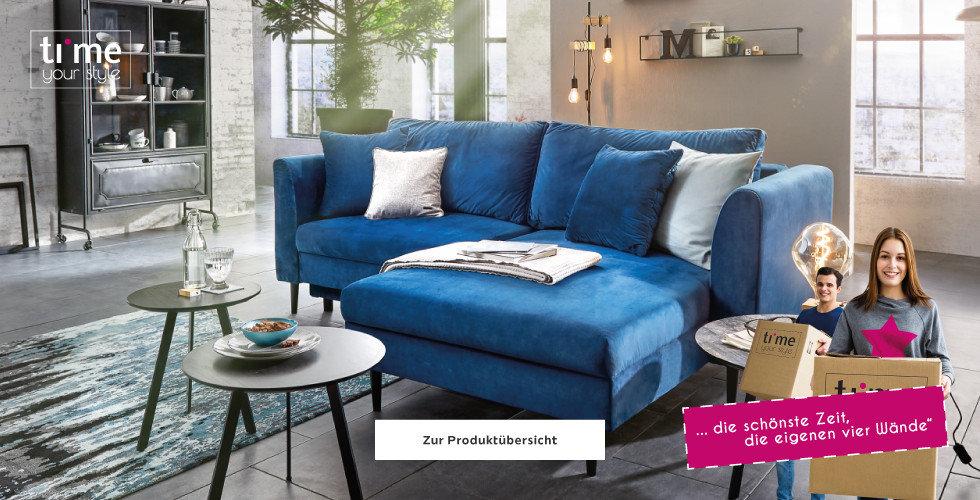 Time Wohnzimmer Wohnlandschaft Blau