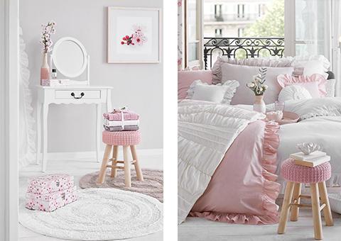 Schlafzimmer rosa weiß romantisch