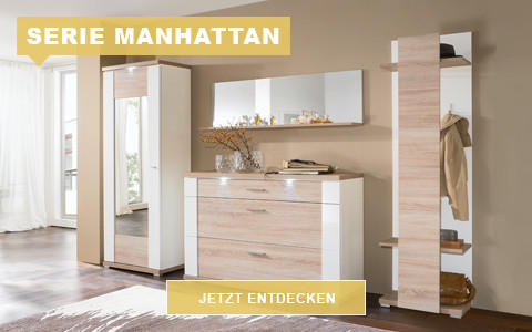 Garderobe Manhattan eiche weiß