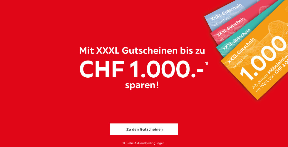 Mit XXXLutz Gutscheinen bis zu CHF 1.000.- sparen!