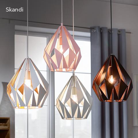rosa, schwarze, graue und weiße Hängeleuchten im Skandi-Stil - skandinavischer Flair für ein modernes Zuhause