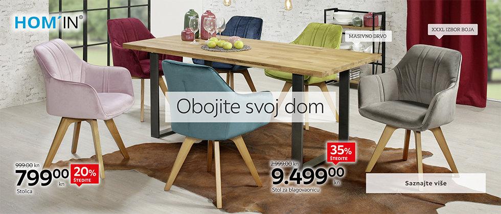 Kvalitetan blagovaonski stol i udobne stolice Lesnina XXXL