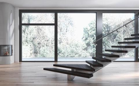 Leerer Raum mit Treppe im modernen Stil