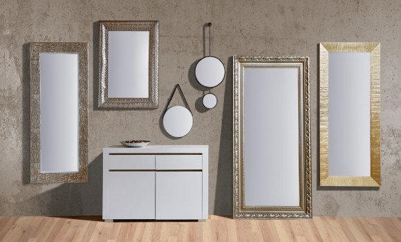 Wandspiegel Grau Braun Silber Rund Eckig