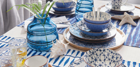 Blaues Geschirr Esstisch Blue Summer