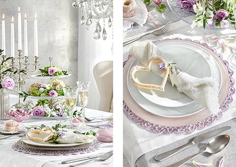 Tischdeko violett weiß