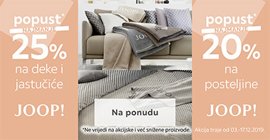 popust na Joop posteljine, deke i jastučiće