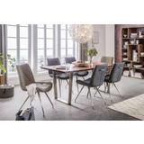 Sive i bež stolice u blagovaonici s drvenim stolom