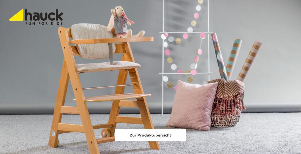 Hauck Hochstuhl holz mit rosa Sitzkissen