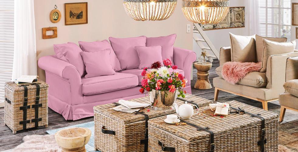 Bigsofa im Landhausstil, rosa, bei XXXLutz.