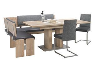 Set s rohovou lavicí šedý dřevo.