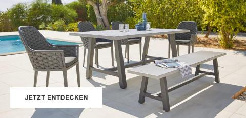 Gartentrends Gartenmöbel Schwarz Weiss Sitzgarnitur Tisch Sesseln Pool