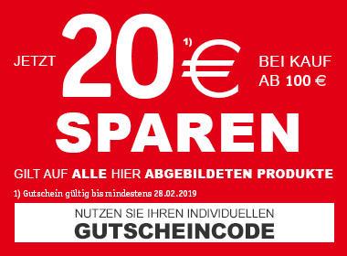 20€ sparen bei einem Kauf ab 100€ - Nutzen Sie Ihren individuellen Gutscheincode