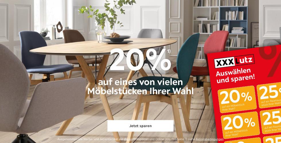 20% auf eines von vielen Möbelstücken Ihrer Wahl