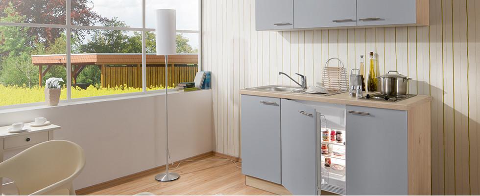 Studentenküchen Grau Holz
