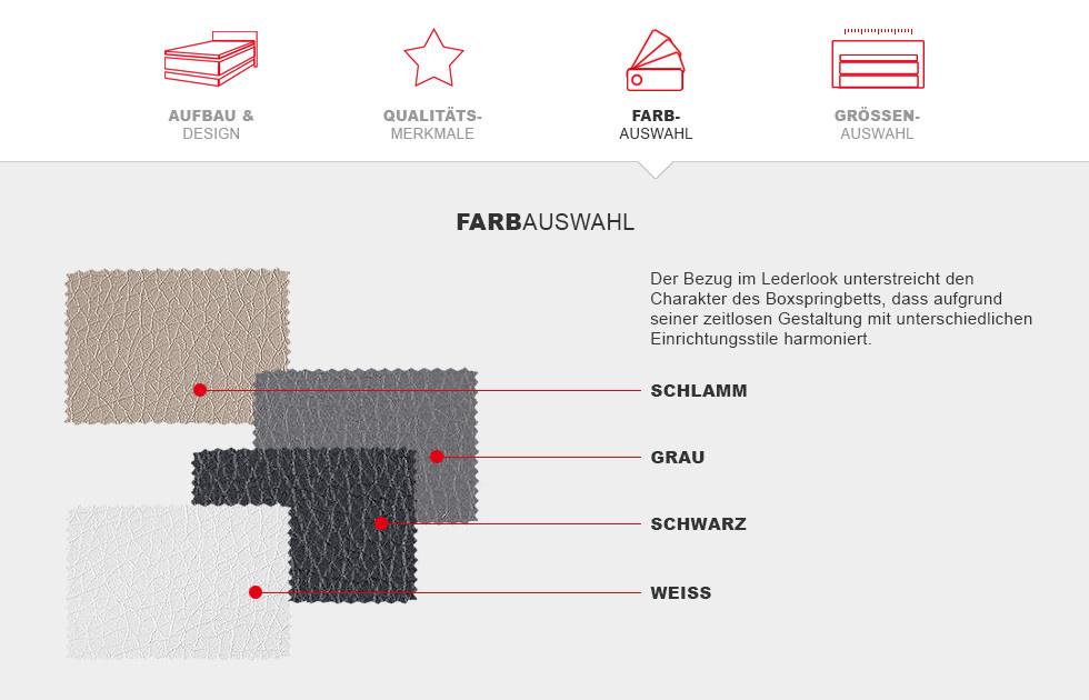 Boxspringbett Prinz Modern - Farbauswahl Details