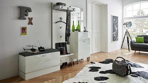 Garderobenset weiß mit Sitzpolster schwarz