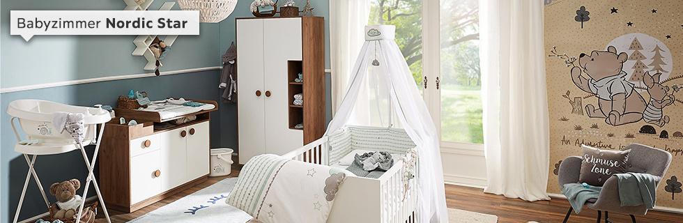 Babyzimmer Nordic Star weiß braun