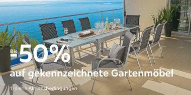 Bis minus 50% auf gekennzeichnete Gartenmöbel