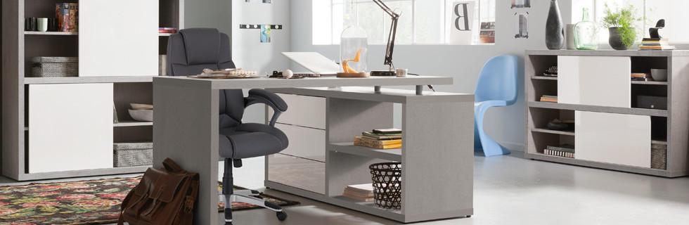 Moderna pisarna čistih linij s funkcionalnim pohištvom z uporabnimi odlagalnimi površinami.