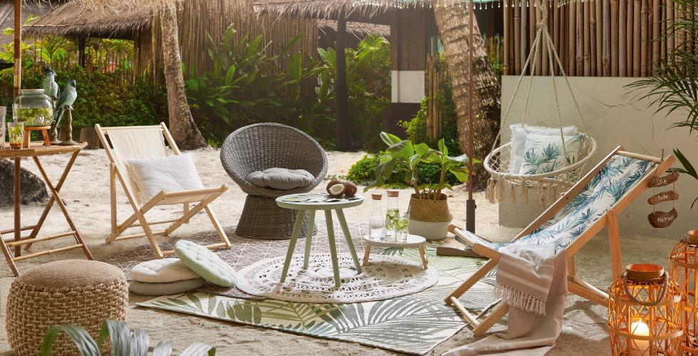 Strandsessel Strandkorb für Botanic Feeling im Garten