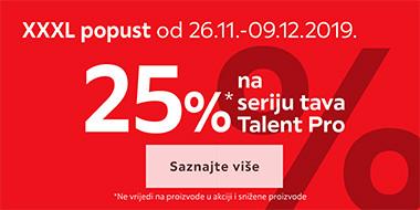 25% na tave Talent Pro
