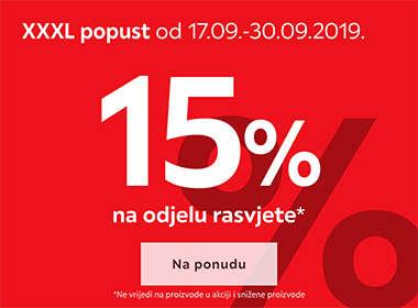 15% popusta na odjelu rasvjete Lesnina XXXL