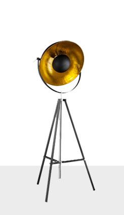 stojací lampa z ocely zlaté barvy