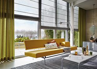 Vorhang Rollo grün textil