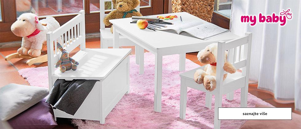 Bijeli stol i stolice za bebe My baby Lou