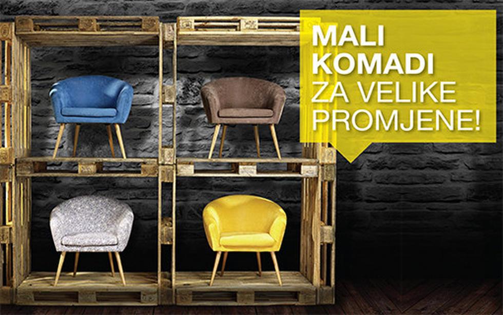 Fotelje zaobljenih linija u kombinaciji tekstila i drva